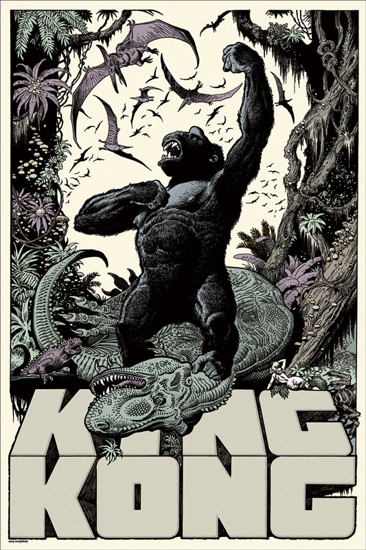 "「キングコング」 King Kong Poster by William Stout.  24""x36"" screen print.  Hand numbered. Signed by William Stout.  Edition of 325. Printed by D&L Screenprinting.  US$50"