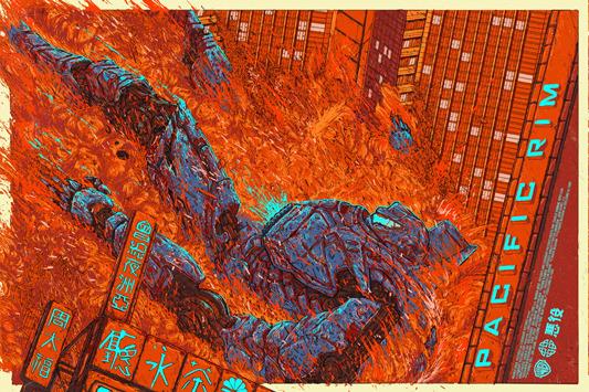"""「パシフィック・リム(イエーガー)」Pacific Rim (Jaeger) Poster by Ash Thorp.  24""""x36"""" screen print. Hand numbered. Edition of 350. Printed by D&L Screenprinting.  US$50"""