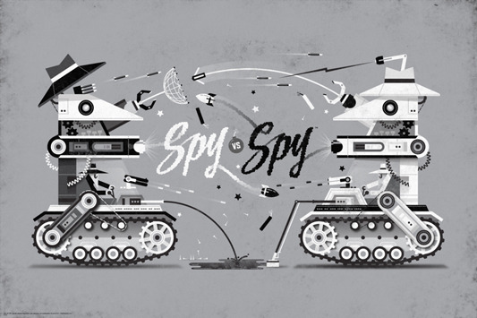 "SPY VS. SPY. Poster by DKNG.  36""x24"" screen print. Hand numbered.  Edition of 225. Printed by D&L Screenprinting.  US$40"