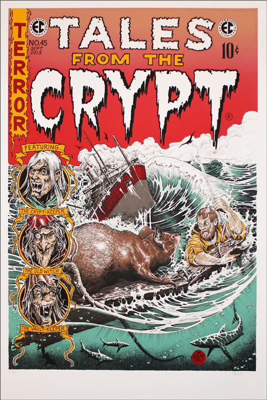 "Tales from the Crypt  (sketched copies sent randomly) Poster by Brandon Holt.  24""x36"" screen print.  Hand numbered. Edition of 185.  Printed by D&L Screenprinting.  US$55"