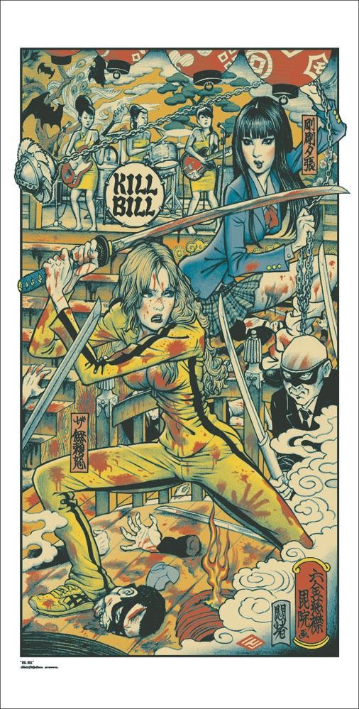 """「キルビル」KILL BILL Poster by Rockin' Jelly Bean.  18""""x36"""" screen print. Hand numbered. Edition of 520.  Printed by D&L Screenprinting.  US$55"""