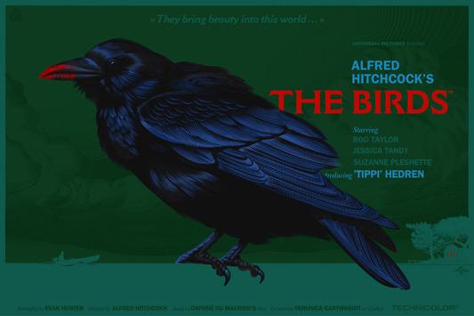 """「鳥」レギュラー The Birds  Regular Poster by Laurent Durieux.  36""""x24"""" screen print. Hand numbered. Edition of 325.  Printed by D&L Screenprinting.  US$60"""