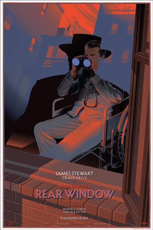 """「裏窓」Rear Window Poster by Laurent Durieux.  24""""x36"""" screen print. Hand numbered. Edition of 375.  Printed by D&L Screenprinting. US$60"""