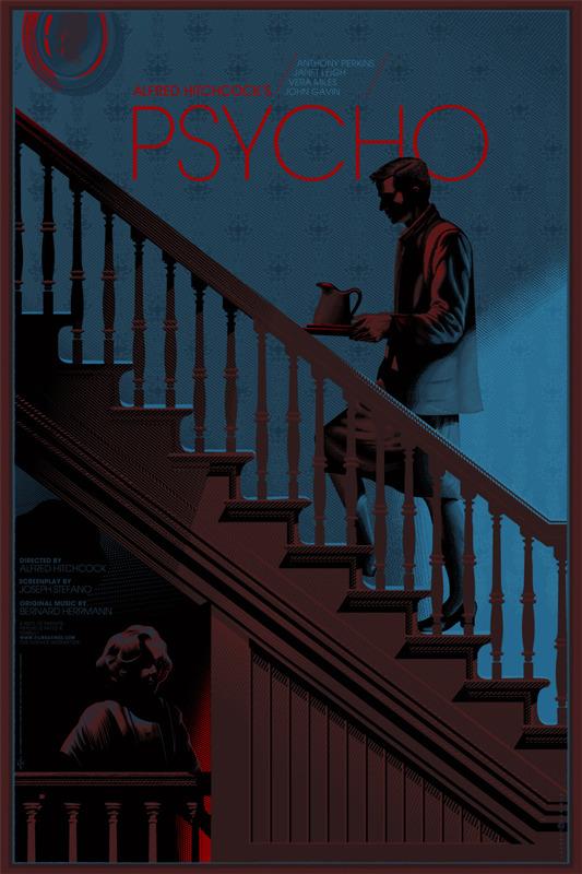 """「サイコ」 Psycho Poster by Laurent Durieux.  36""""x24"""" screen print. Hand numbered. Edition of 325.  Printed by D&L Screenprinting.  US$60"""