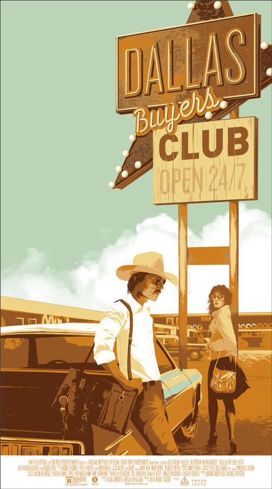 """「ダラス・バイヤーズクラブ」DALLAS BUYERS CLUB Poster by Matt Taylor.  20"""" x 36"""" screen print. Hand numbered. Edition of 325.  Printed by D&L Screenprinting.  US$45"""