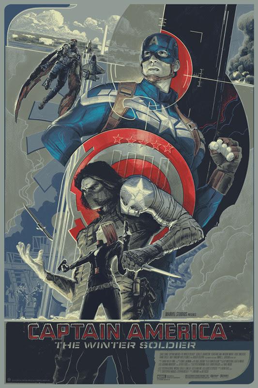 """「キャプテン・アメリカ ウィンターソルジャー」レギュラー  CAPTAIN AMERICA: THE WINTER SOLDIER Regular Poster by Rich Kelly.  24""""x36"""" screen print. Hand numbered. Edition of 435.  Printed by D&L Screenprinting.  US$45"""
