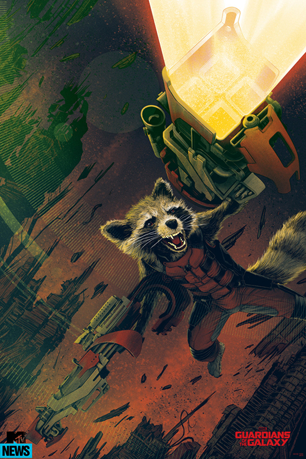 「ロケット・ラクーン」バリアント Rocket Raccoon (Variant) Poster by Kevin Tong 24″ x 36″ Edition of 150 $65