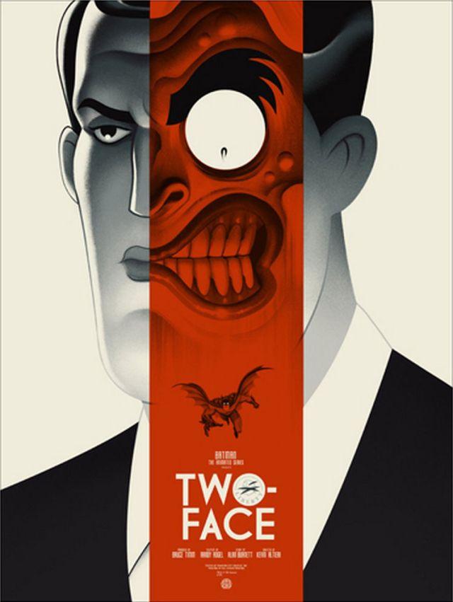"""「トゥー・フェイス」レギュラー Two-Face Regular Poster by Phantom City Creative.18""""x24""""  Edition of 275 US$45"""
