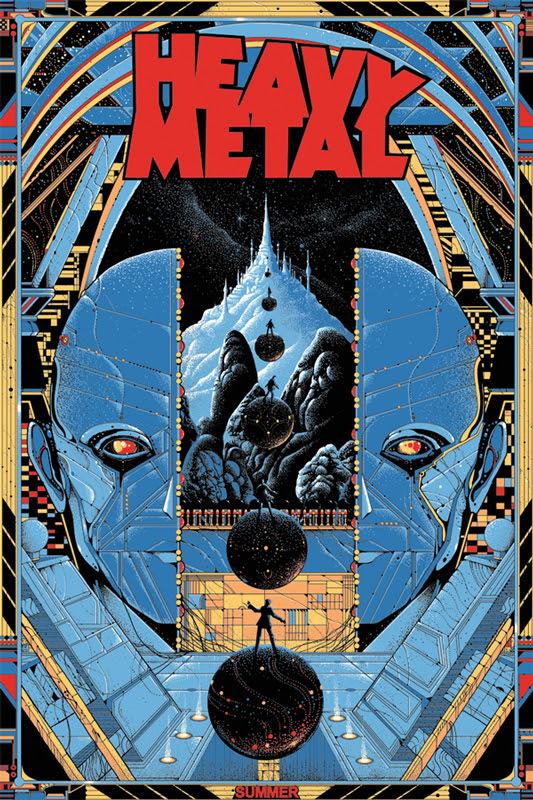 """「ヘビーメタル」 レギュラー HEAVY METAL Regular Poster by Kilian Eng.  24""""x36"""" screen print. Hand numbered. Edition of 290.  Printed by D&L Screenprinting.  U$50"""