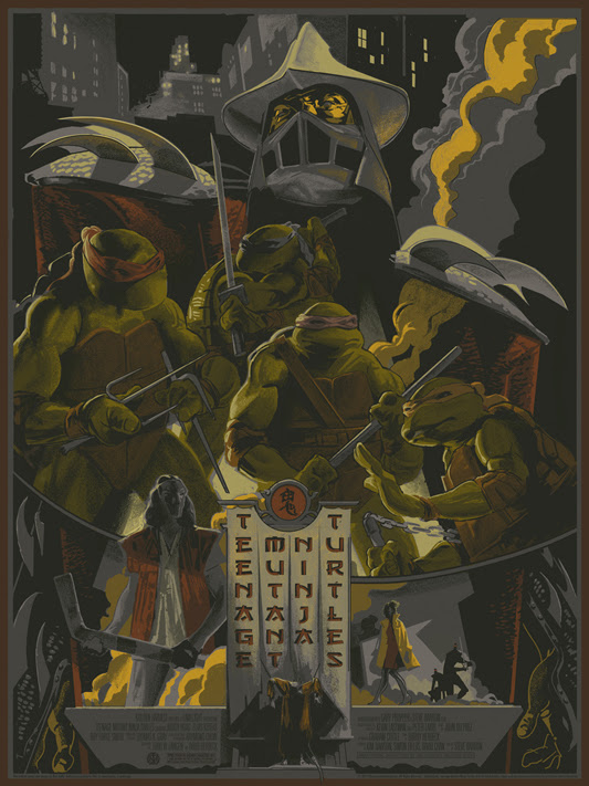 "「ティーンエイジ・ミュータント・ニンジャ・タートルズ」 Teenage Mutant Ninja Turtles Poster by Rich Kelly.  18""x24"" screen print.  Hand numbered. Edition of 300.  Printed by D&L Screenprinting.  US$45"