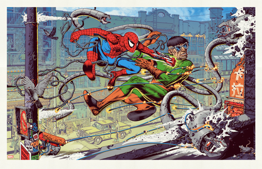 "「スパイダーマン VS ドクター・オクトパス」 SPIDER-MAN VS DOCTOR OCTOPUS Poster by Mike Sutfin.  36""x23.25"" screen print. Hand numbered.  Edition of 325.  Printed by D&L Screenprinting.  US$50"