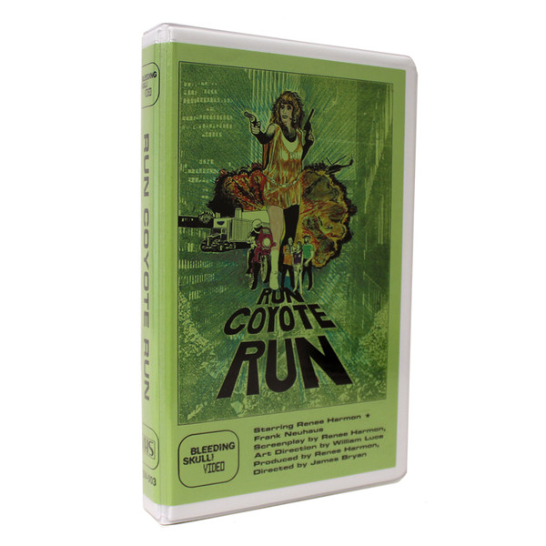 「ラン コヨーテ ラン」VHS Run Coyote Run VHS Released by Mondo Video and Bleeding Skull! Video.  Available on Black Cassette. Includes Minimum Underdrive No. 3 Zine and mini-poster by Jimmy Giegerich. Directed by James Bryan.  1987 / Color / 72 minutes.  US$25