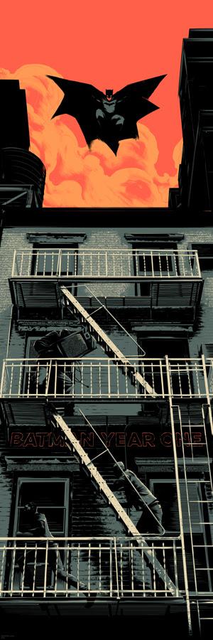 """「バットマン: イヤーワン」 Year One  by Matt Taylor.  12""""x36"""" screen print. Hand Numbered. Edition of 300.  Printed by D&L Screenprinting.  US$45"""