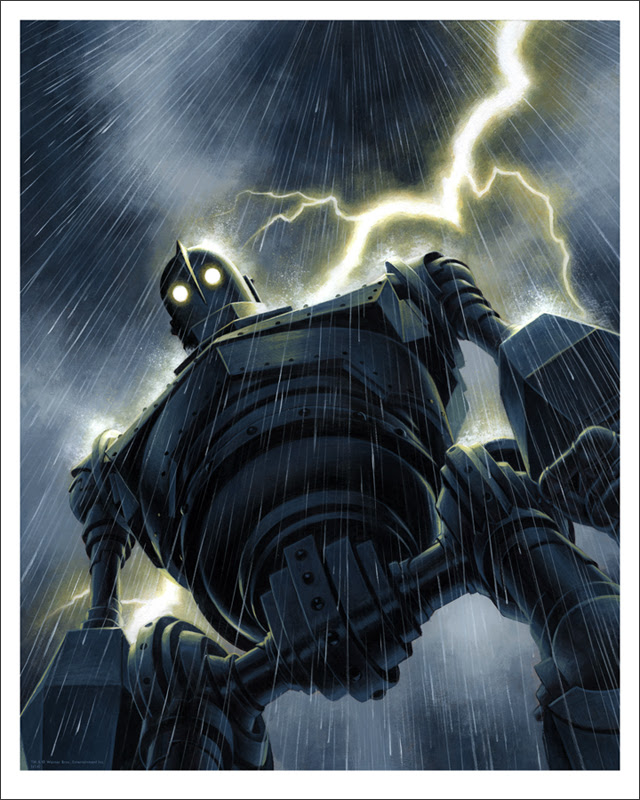 "「アイアン・ジャイアント(雨)」 The Iron Giant (Rain)  by Jason Edmiston.  16""x20"" giclee. Hand numbered. Edition of 170.  Printed by Static Medium.  US$65"