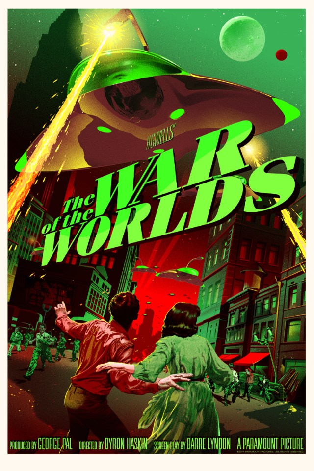 "「宇宙戦争」バリアント The War of the Worlds (Variant)  by Stan & Vince.  24"" x 36"" screen print featuring glow-in-the-dark layer.  Hand numbered. Edition of 150.  Printed by D&L Screenprinting.  US$85"