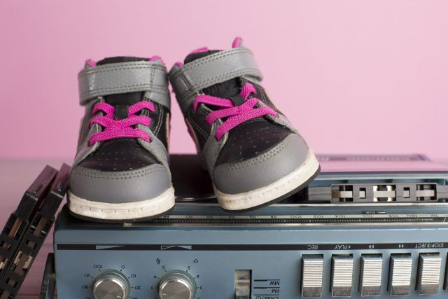 80's style shoes and tape recorder.