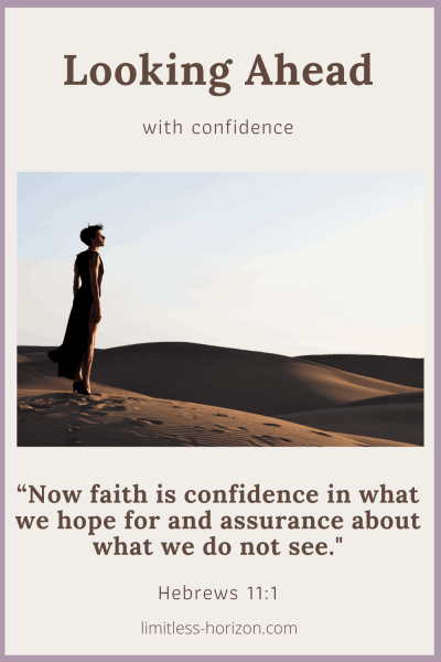 Looking Ahead with Confidence - Woman standing in the desert, looking at the horizon.
