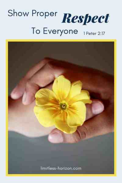 Two hands - from different people - holding together a buttercup and the text 'Show Proper Respect to Everyone' 1 Peter 2:17