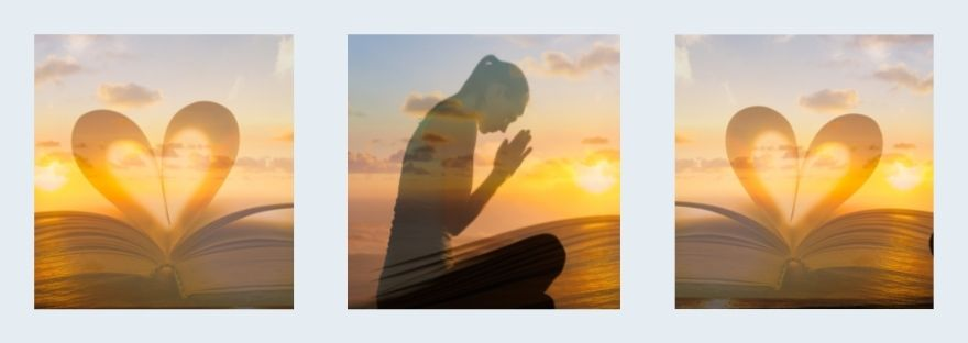 Silhouette of a woman at sunset sitting with her hands folded in prayer - Psalms for Evening Prayer