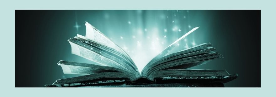 Mystery of the Gospel - picture of an open book with light streaming out