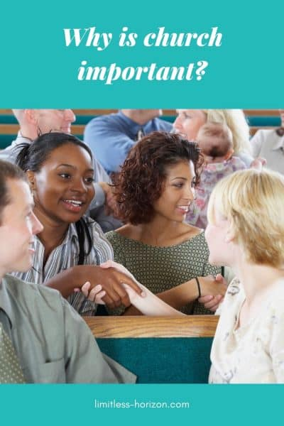 Picture of a mixed group of adults, greeting and welcoming each other with the text 'why is church important?'