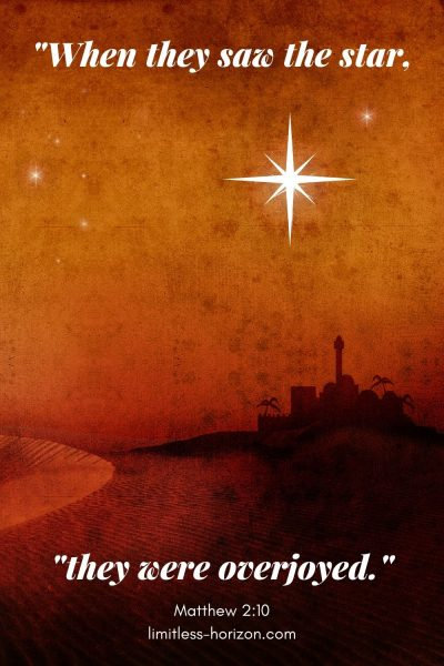 A night time view of an Eastern city and the text 'When they saw the star, they were overjoyed.' Matthew 2:10