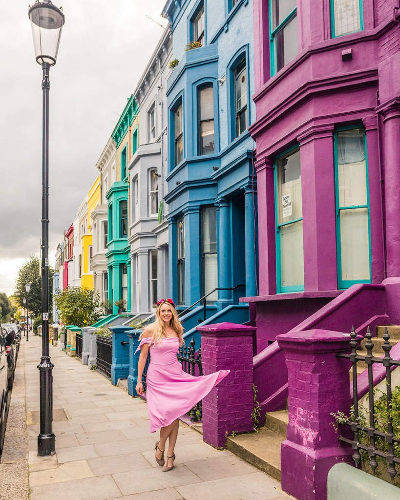 Notting Hill rainbow houses in Lancaster Road - London