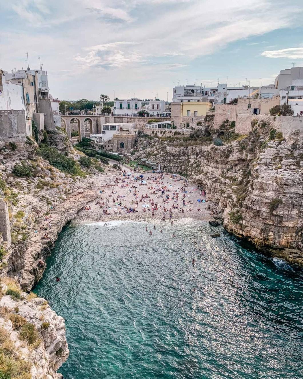 Lama Monachile (or Cala Porto) - Beach of Polignano a Mare in Puglia