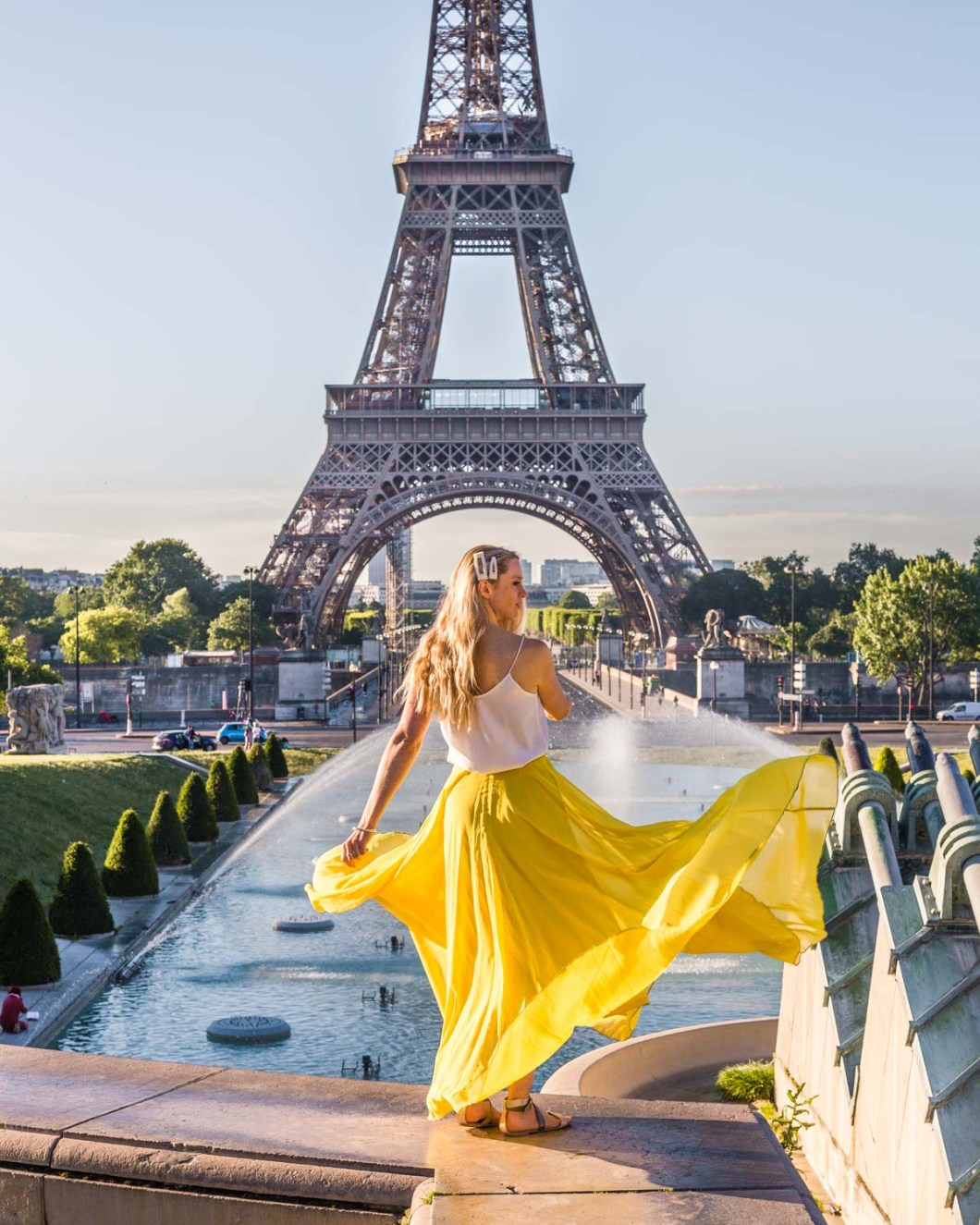 Trocadéro gardens with the Eiffel Tower