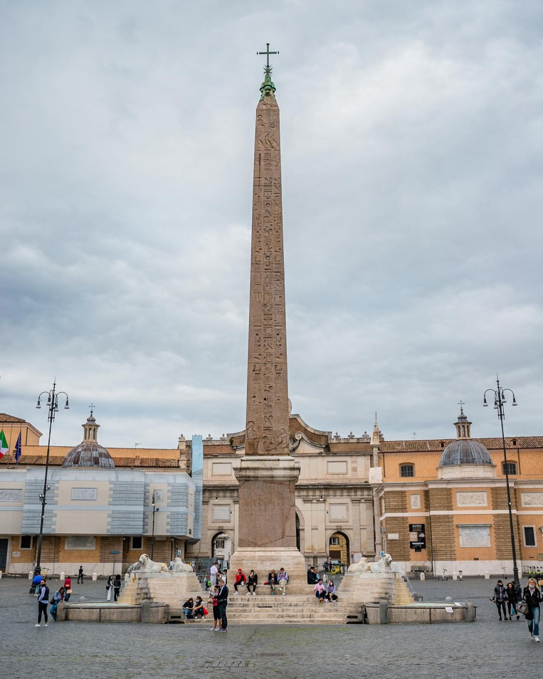 Egyptian Obelisk of Seti I and Ramesses II in Piazza del Popolo in Rome
