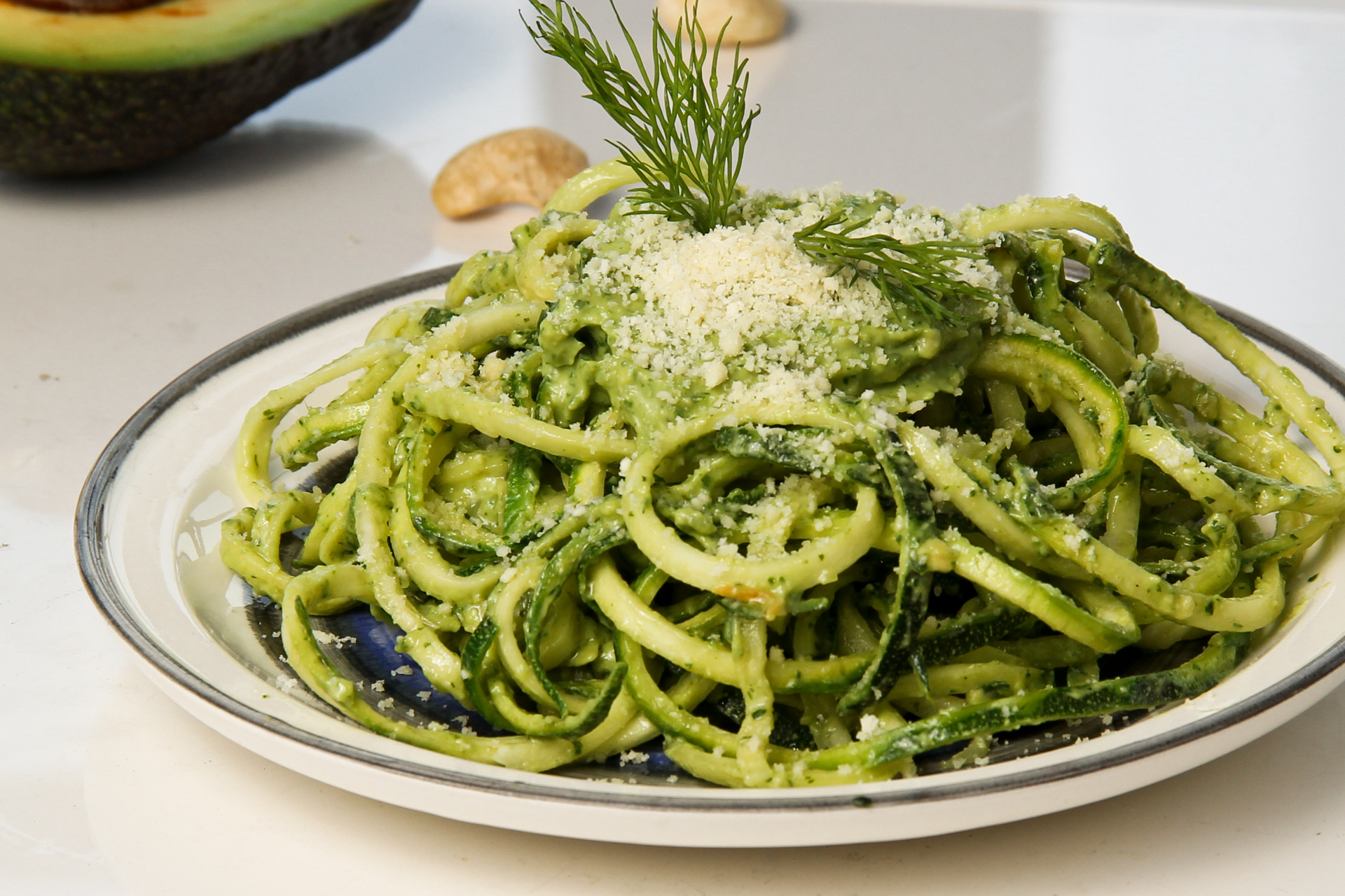 how to make zucchini pasta with avocado cashew pesto live limitless. Black Bedroom Furniture Sets. Home Design Ideas