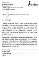 Appeal Letter to Insurance Company for medical expense
