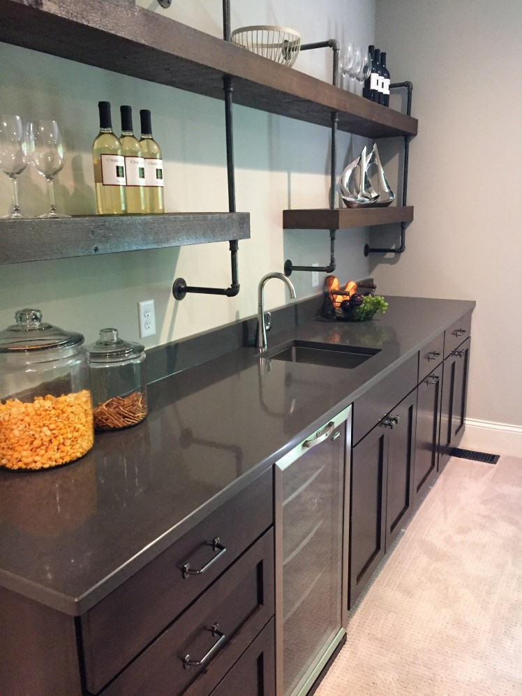 Wet bar with custom  shelves