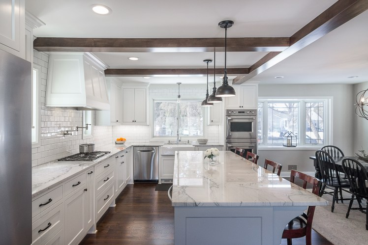 Alder beams define open kitchen