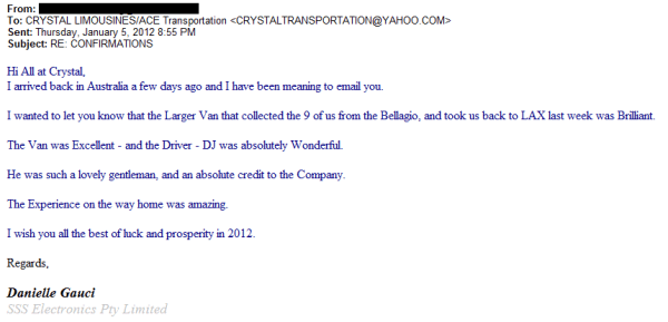 Customer Review of LAX Transportation from Bellagio Casino in Las Vegas.