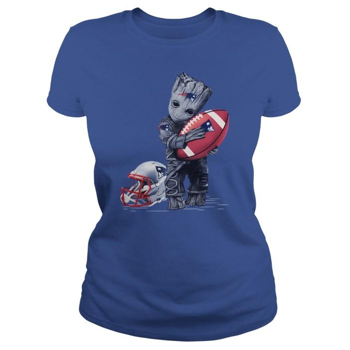 Baby Groot hugs New England Patriots shirt