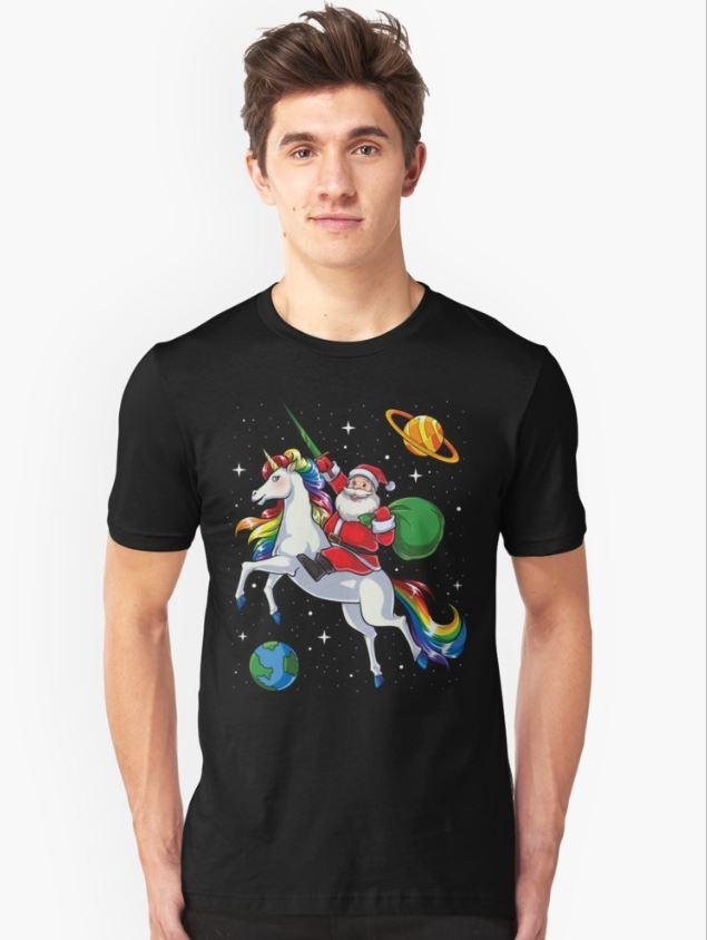 Santa riding Unicorn in space Christmas guys shirt