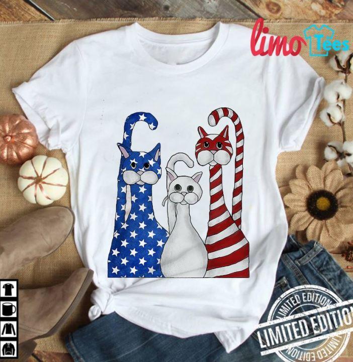 Three Cats American flag t-shirt