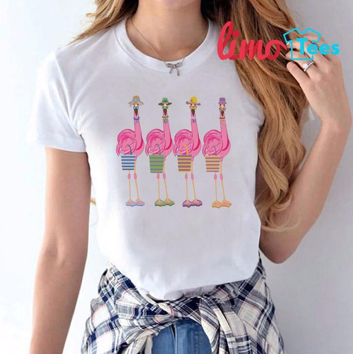 Flamingo friends shopping t-shirt