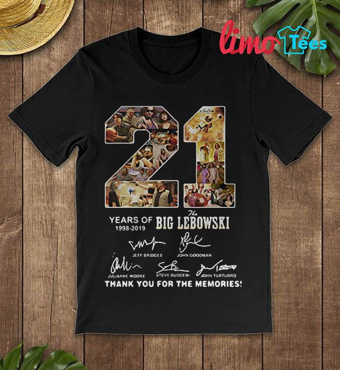 21 years of Big Lebowski 1998-2019 signature shirt