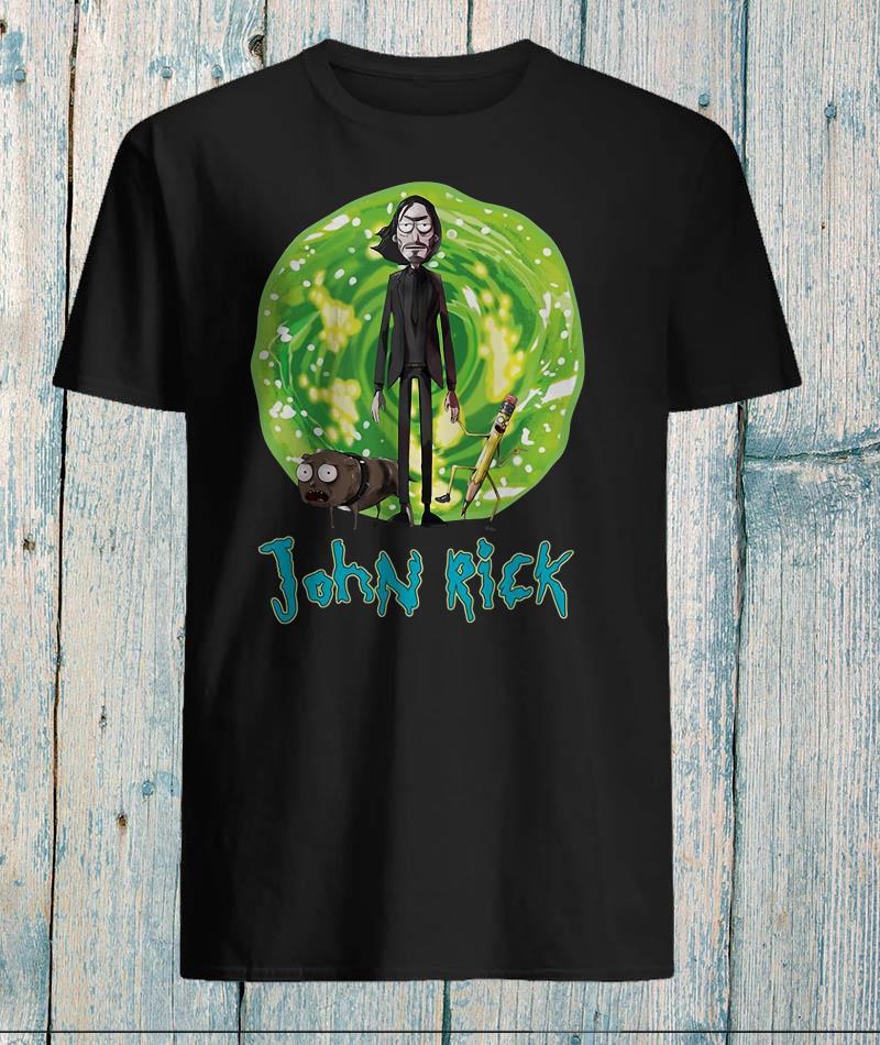 John Rick dog and pencil Rick Morty shirt