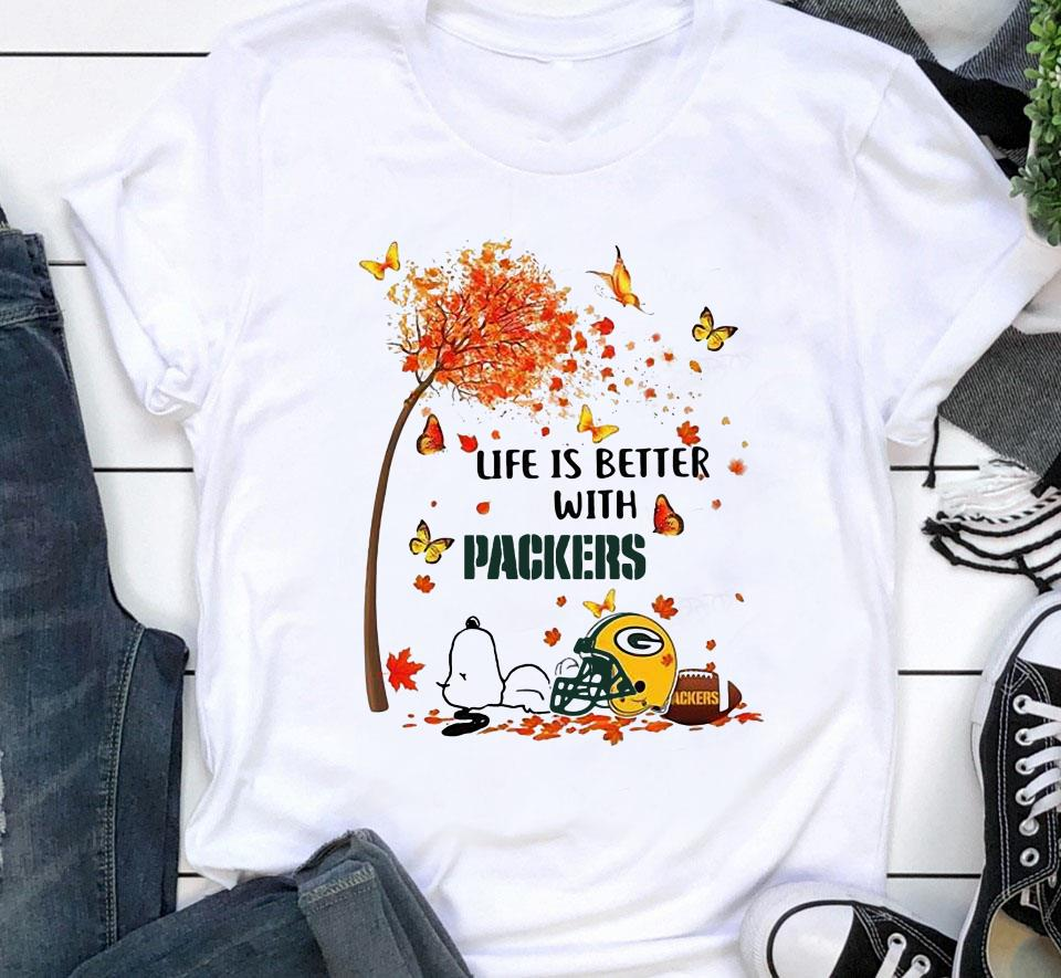 Life is better with Green Bay Packers snoopy autumn tree shirt