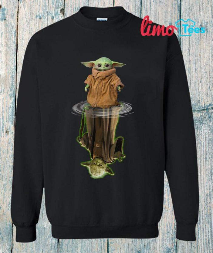 Mandalorian Baby Yoda Star Wars water reflection sweatshirt