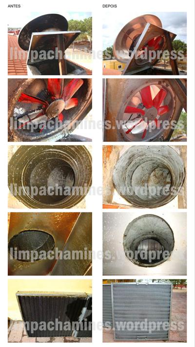 Limpeza de chaminé industrial (antes e depois)
