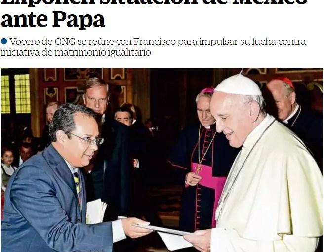 """<span class=""""entry-title-primary"""">Portavoz del Yunque se cuela en audiencia con el Papa</span> <span class=""""entry-subtitle"""">Rodrigo Iván Cortés, de la plataforma del Yunque Frente Nacional por la Familia, se fotografía con el papa Francisco en el Vaticano</span>"""