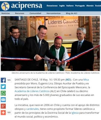 16 de mayo de 2016: Décimo aniversario de la Academia de Líderes Católicos (Chile).