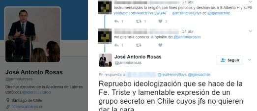 El 21 de abril de 2017, J.A. Rosas reprobó algunas de las manipulaciones políticas de la religión que hace el Yunque, pero sin mencionar el nombre de esta sociedad secreta.