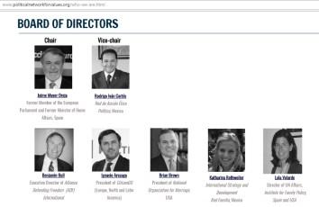 Directores de Political Network of Values: Mayor Oreja con los Yunques Rodrigo Cortés, Ignacio Arsuaga, Lola Verlarde...