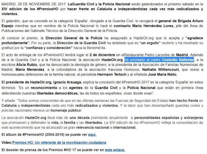 Noticia del 28 de noviembre, sin mención a Urosa.