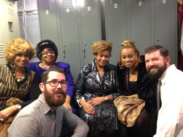 Adrean and Mark with the Clark Sisters, who originally recorded the song